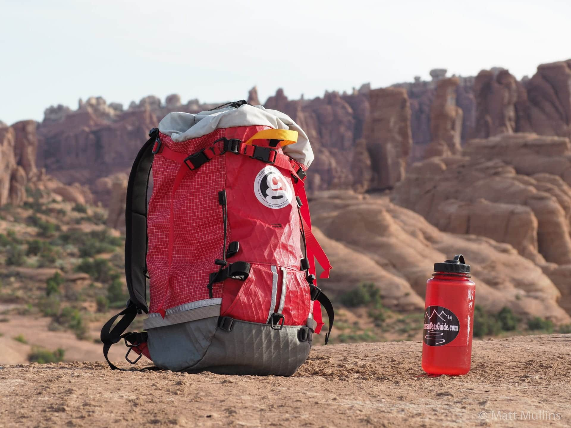 Nalgene water bottle hiking near Moab.
