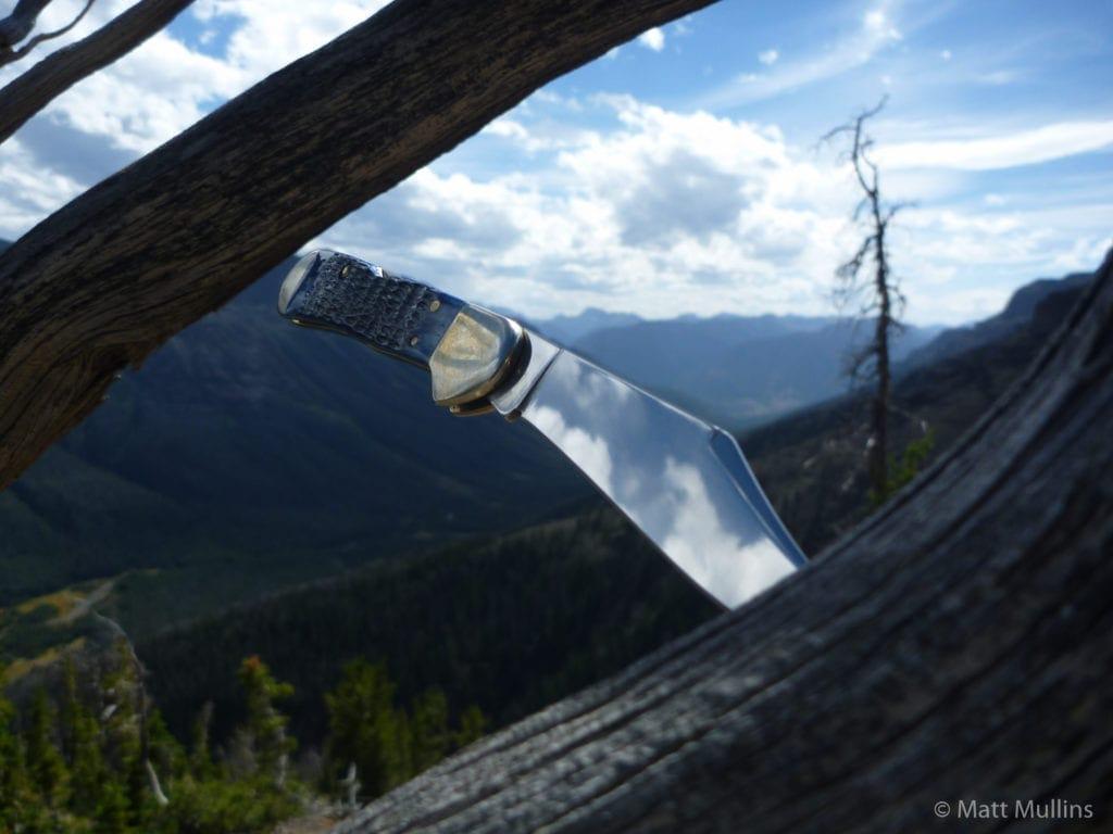 Case Copperlock knife in the Absarokas, Wyoming