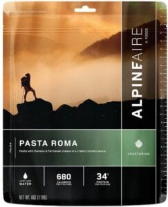 AlpineAire Pasta Roma backpacking meal