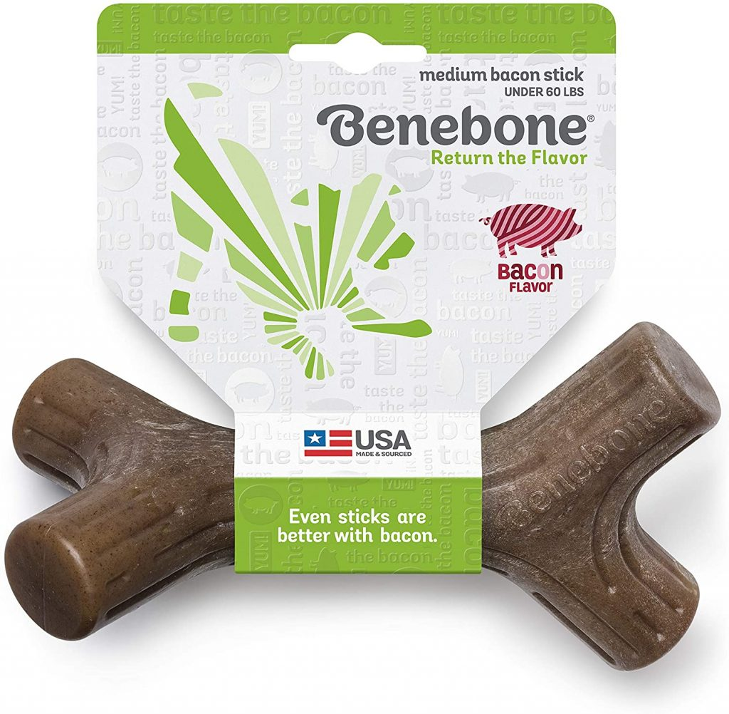 Benebone Bacon Stick Durable Dog Chew Toy Made in USA