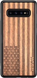 WUDN Wooden Phone Case (American Flag in Mahogany) Compatible with Galaxy S10 Plus, Samsung Galaxy S10 Plus
