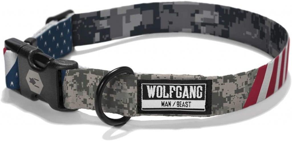 Wolfgang USA flag themed dog collar made in the USA
